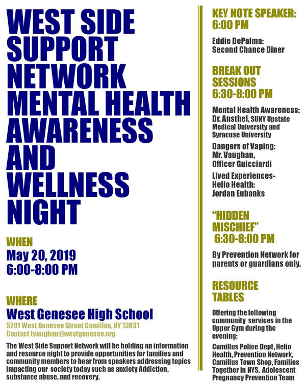 West Side Support Network Mental Health Awareness and Wellness Night